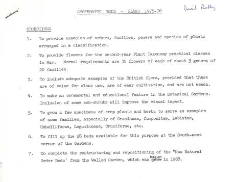 This memo addressed to then garden curator, David Radley, explains how it was intended new order beds would be used, Winterbourne House and Garden, Digging for Dirt