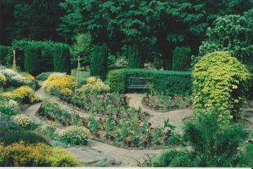 Tropical style planting in the Sunken Garden c. 1990s, Winterbourne House and Garden, Digging for Dirt