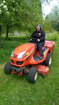 Ride-on mower, mowing, Winterbourne House and Garden, Digging for Dirt