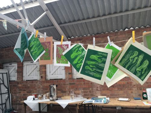Reduction Lino Prints in Old Tool Shed