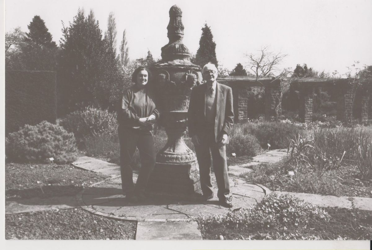 Professor J.G. Hawkes with horticultural student Elizabeth Connelley in the Herb Circle, Now and Then June, Winterbourne House and Garden, Digging for Dirt
