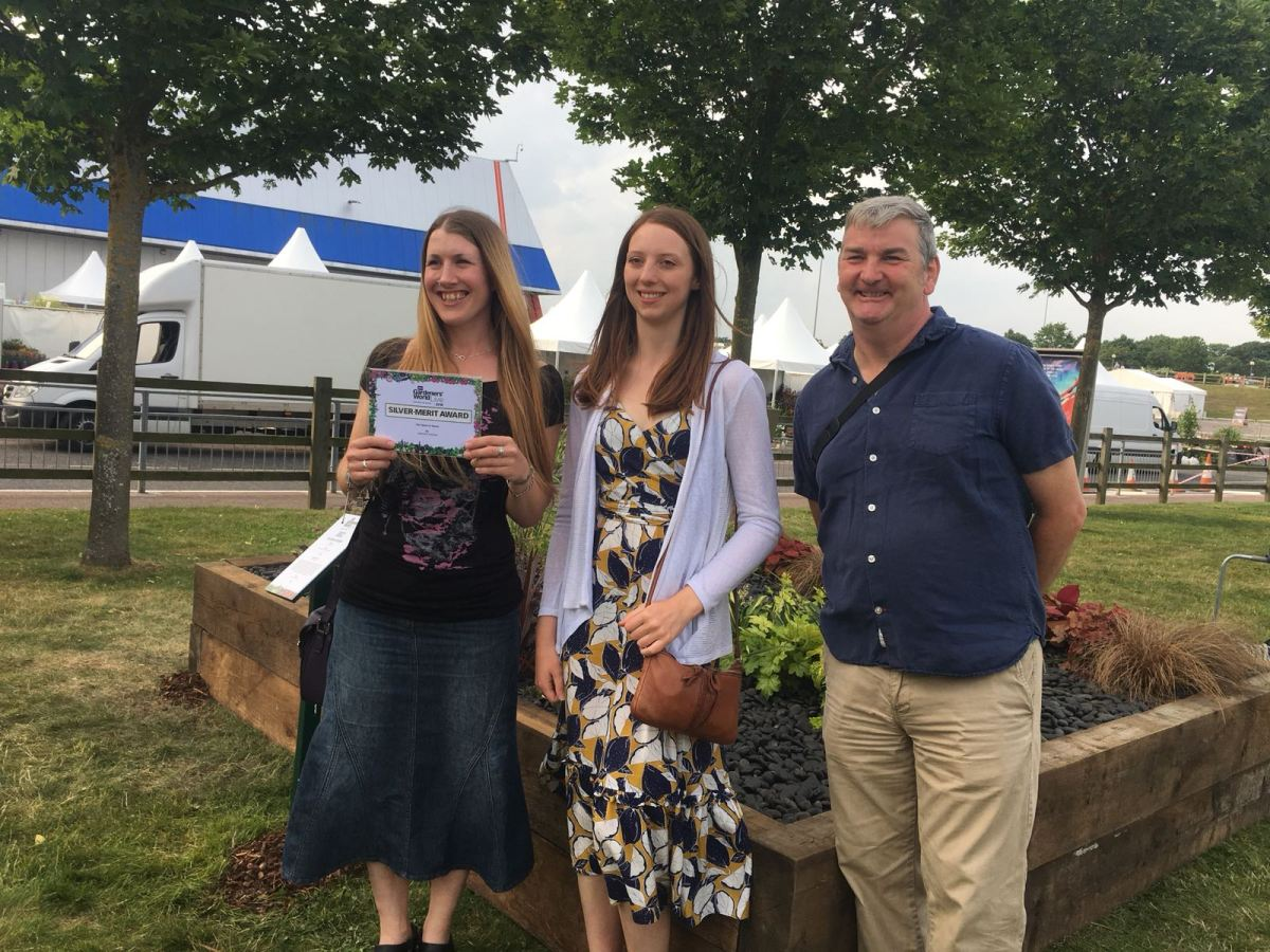 Cath, Natasha and Dave with their silver-merit award, Cath Fletcher, Winterbourne House and Garden, Digging for Dirt