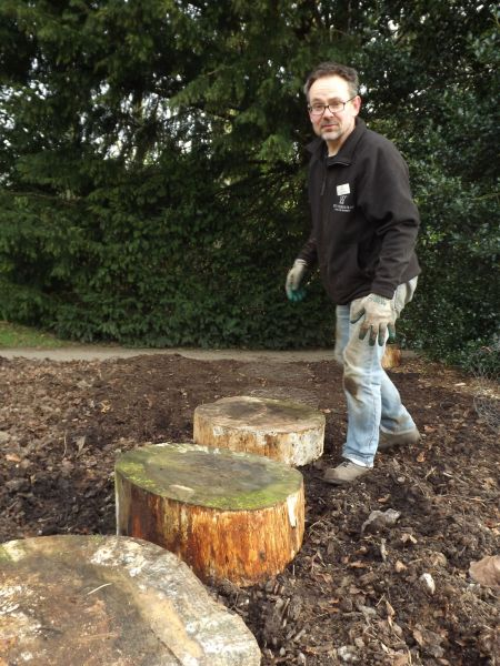 Steve constructing a new path in the Woodland Border on the Arboretum Lawn, The Week That Was, Digging for Dirt, Winterbourne House and Garden
