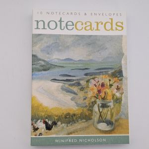 pack of art angels notecards, depicting flowers on a beach and chickens