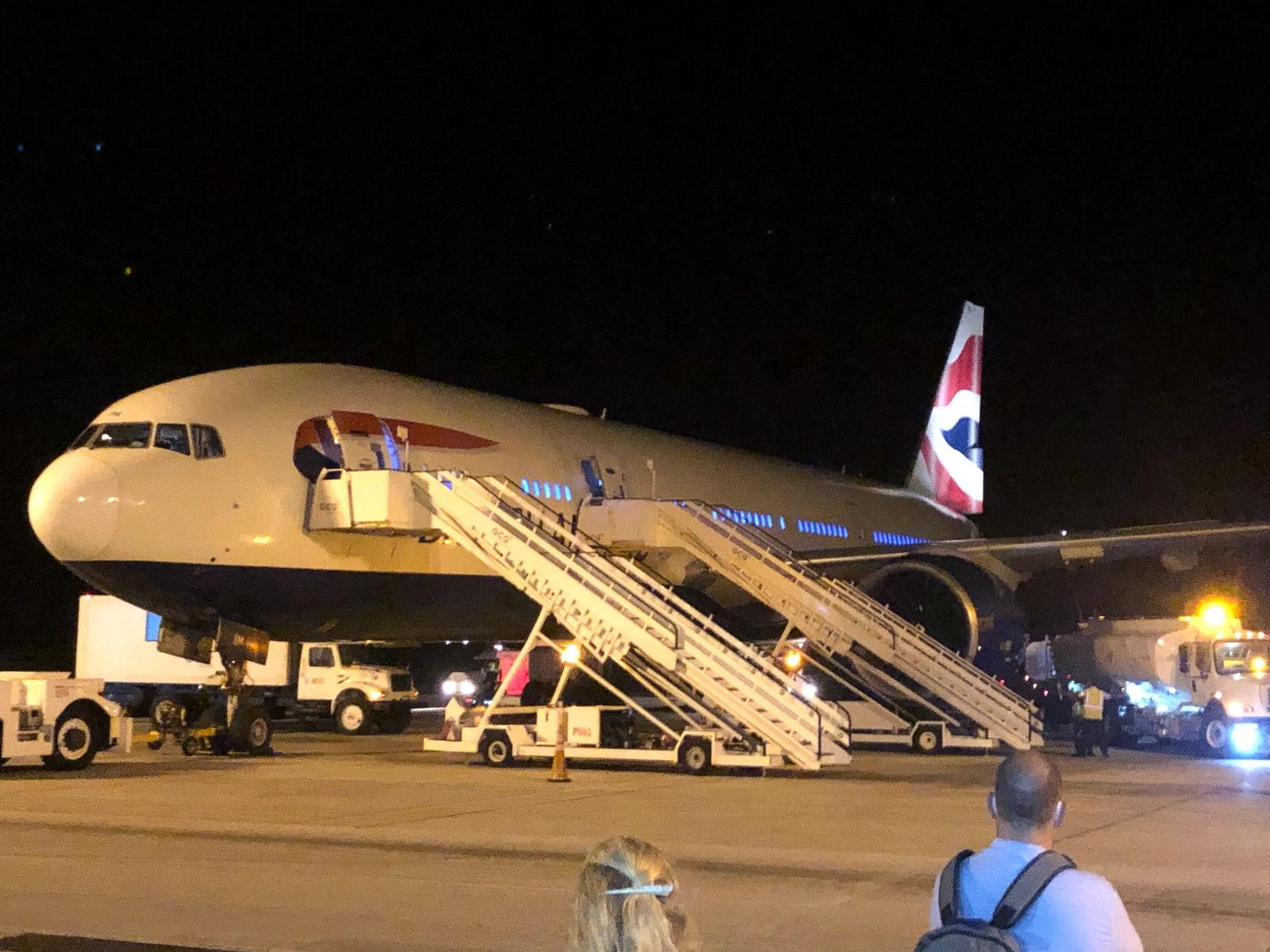 British Airway plane at Barbados Grantley Adams International Airport preparing to fly back to London Heathrow