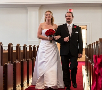 Giving away the bride at the First Congregational Church