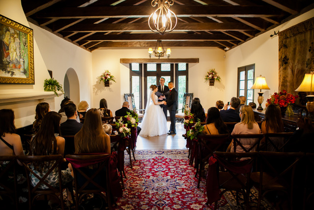 Couple and their guests during the Wedding Ceremony at Casa Feliz.