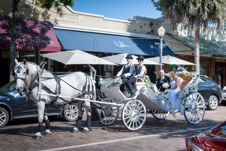 Horse and carriage with newlyweds sitting in the carriage outside Blu Restaurant on Park Avenue in Winter Park
