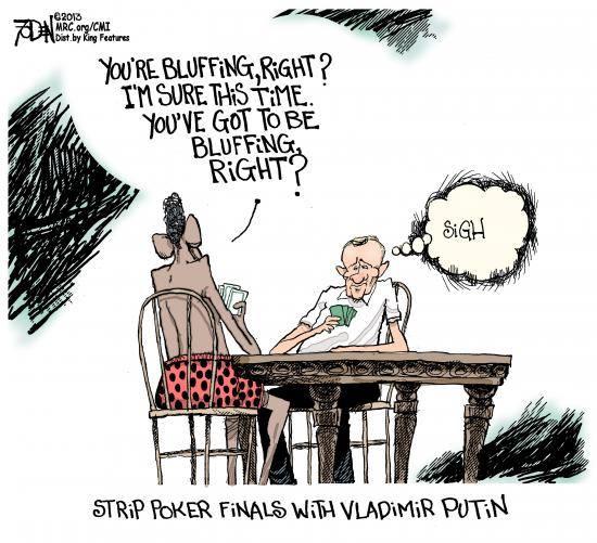 putin and obama playing poker