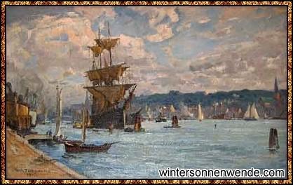 Flensburg 1917 - Gemälde von Wilhelm Feldmann.