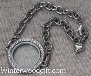 Forever in My Heart Locket Bracelet -CZ Silver Round