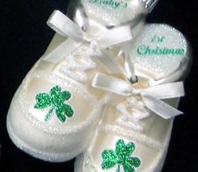 Irish Baby's 1st Christmas Shoe Glass Ornament-White
