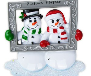Snow Couple Holding Frame Personalized Christmas Ornament