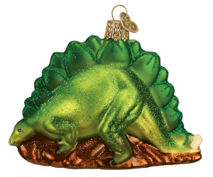 Stegosaurus Dinosaur Old World Glass Ornament
