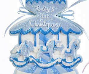 Baby's First Chirstmas Carousel Ornament- Boy