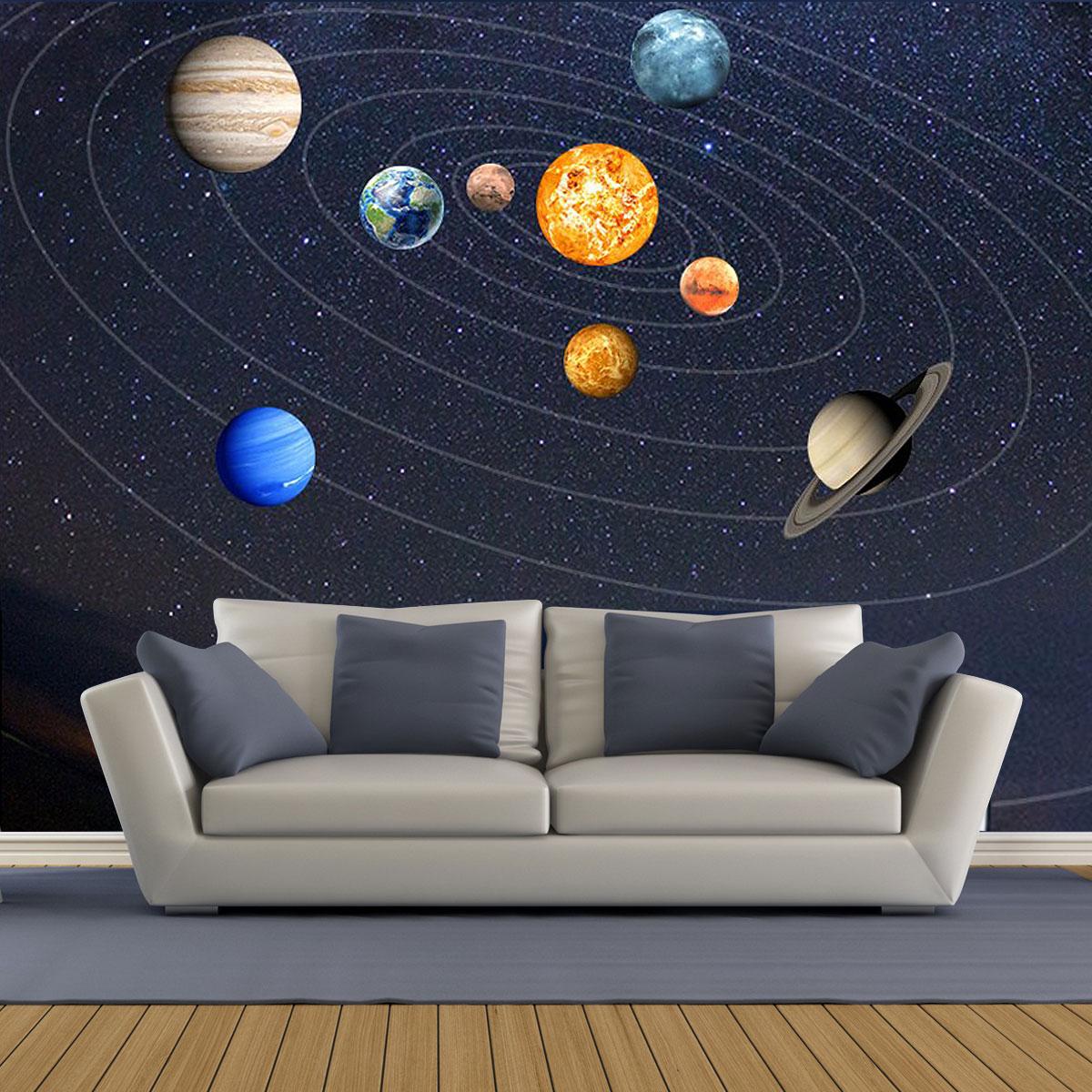 Sonnensystem Planeten Nacht Licht Leuchtende Aufkleber