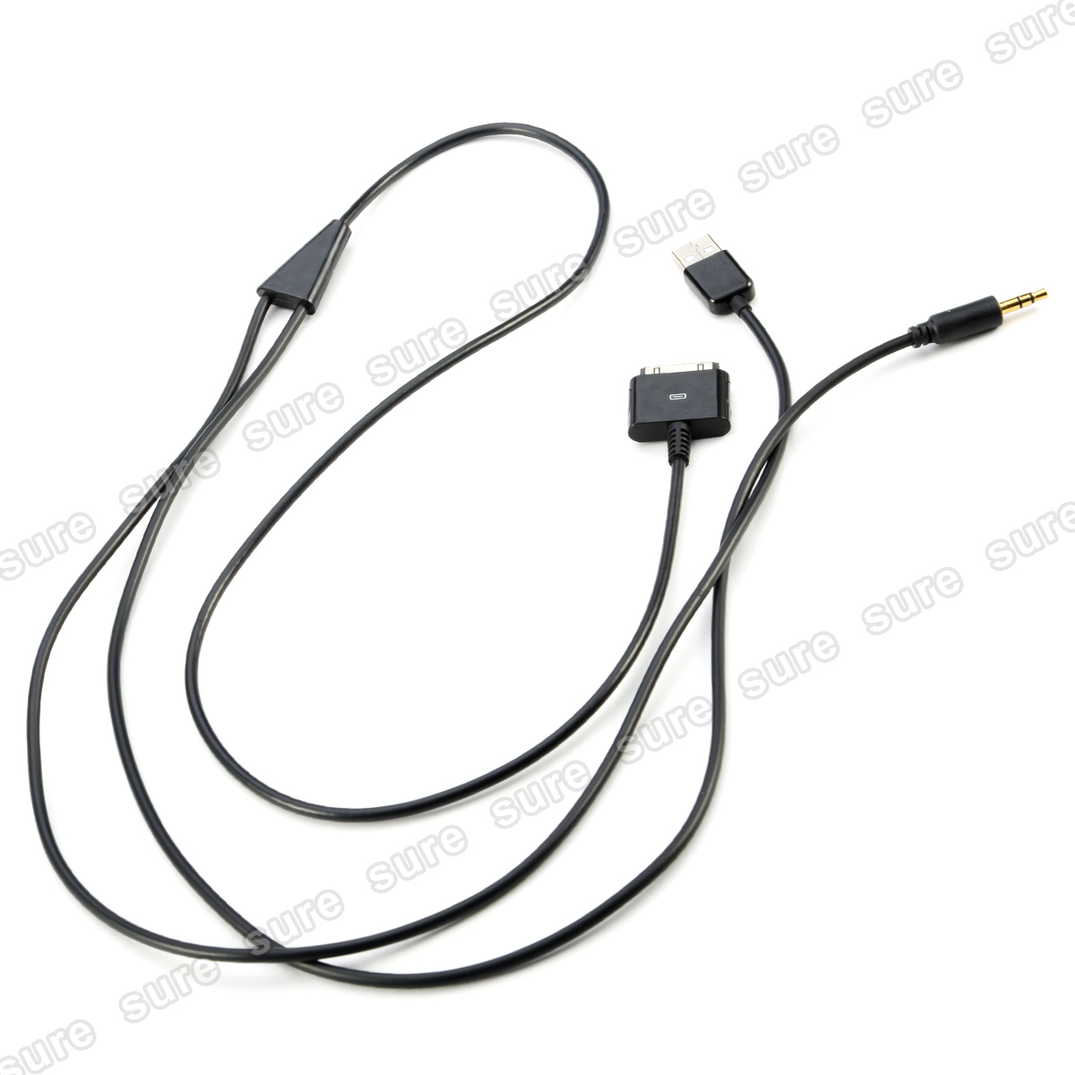 Black 3 5mm Aux Usb Car Audio Cable For Apple Iphone