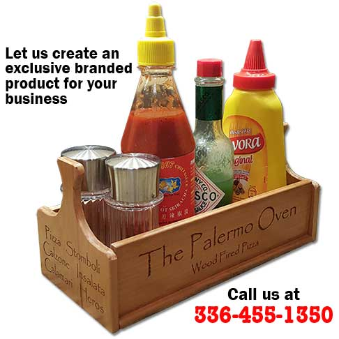 Custom Condiment Caddy - Custom Logo Engraving for restaurant marketing products