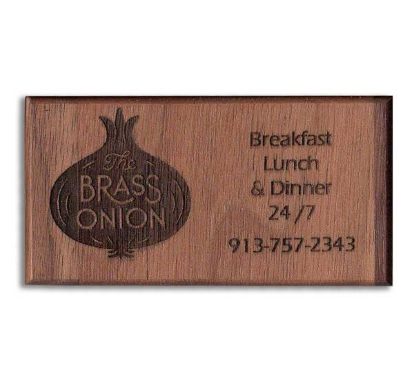 Brass Onion Custom Engraved Wood Business Card Refrigerator Magnets - WinWoodDesigns.com