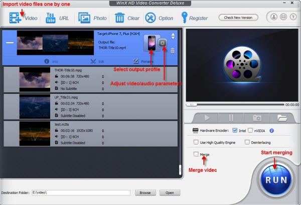 WinX HD Video Converter Deluxe - merge videos