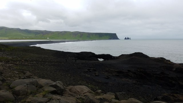Ocean view with black volcanic cliffs