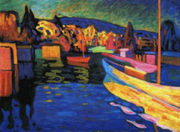 paesaggio autunnale con barche