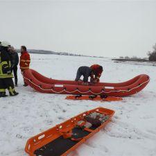 Gemeinschaftsübung Eisrettung der DLRG Nieder-Olm/Wörrstadt, DRK und Feuerwehr 1