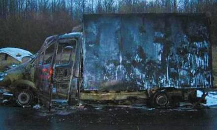 Kleinlaster voller Wurstwaren brennt auf der A 63 aus