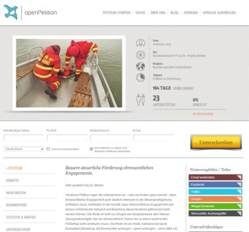 Online Petition Ehrenamt.