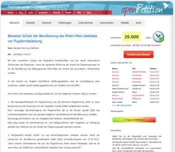 Petition gegen Fluglärm noch 5 Tage lang online unterzeichnen