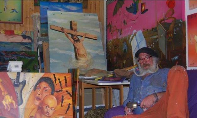 Christian Seidel Action Painting auf dem Marktplatz in Nierstein