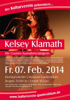 "Country Rock mit Kelsey Klamath Solo Vorstellung der neuen CD ""from Chocolate to Whisky"""