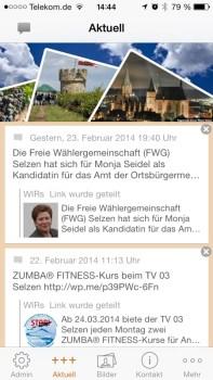 Die Startseite der WIR-App informiert über aktuelle Nachrichten und Artikel.
