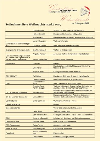 Teilnehmerliste Weihnachtsmarkt 2015