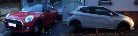 Bei diesen beiden Autos wurden in Monsheim die Felgen demontiert und gestohlen. (Bild: Polizei Worms)