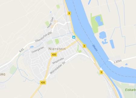 Der Verkehrsknotenpunkt Nierstein, wo B9 und B420 aufeinander stoßen. (Bild: Google Maps)