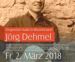 """Fingerstyle made in Rheinhessen"""" mit Jörg Dehmel am 2. März um 20 Uhr im im Museum Guntersblum"""