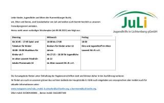 RuBu Mobil Freizeitprogramm ab August 2021