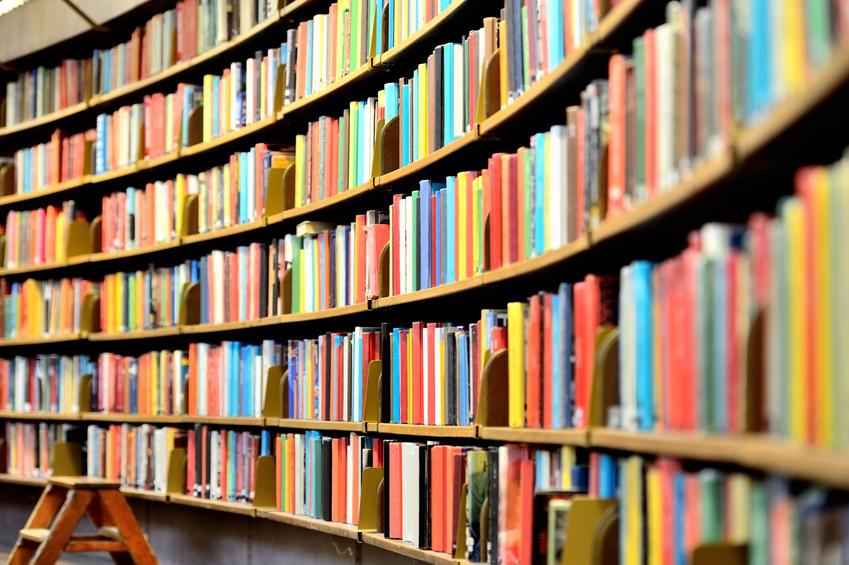 Round bookshelf in public library