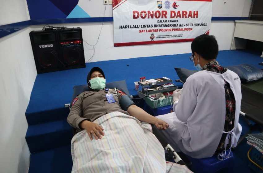 Sambut Hari Lalu Lintas, Satlantas Polres Purbalingga Gelar Donor Darah