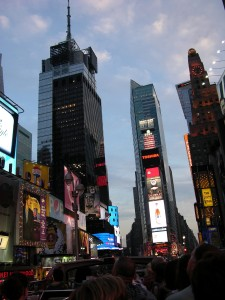 Times Square in evening from the bus.    Photo: Brad Moon