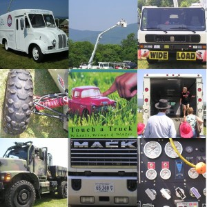 A dream come true. Kids got to mess around with dozens of big machines at the Touch-A-Truck event. Top row: Old school milk truck, bucket truck rides, crane truck cab. Middle row: Baja buggy wheels, Touch-A-Truck logo, Back of a Brinks truck. Bottom row: Army truck, Mack grill, fire engine dials.