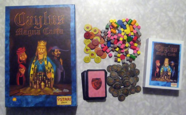 Caylus: Magna Carta. The original box on the left, my new compact box on the right.