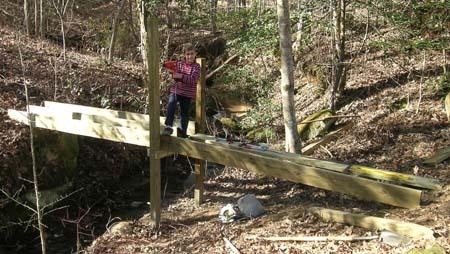 Eight year old at bridge framework