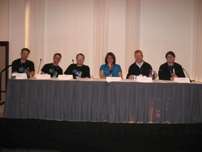 From left: Doug Cornelius, John Booth, Matt Blum, Natania Barron, Dave Banks, Michael Harrison; Photo © Matt Blum
