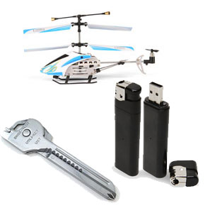 ThinkGeek's R/C Micro Metal Gyro Copter, SpyCam Lighter and Utili-Key