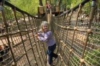 Crossing the rope bridges