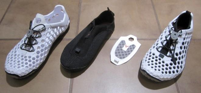 Vivo Barefoot Ultras: outer cage, inner sock, tongue, complete shoe. Photo: Jonathan Liu