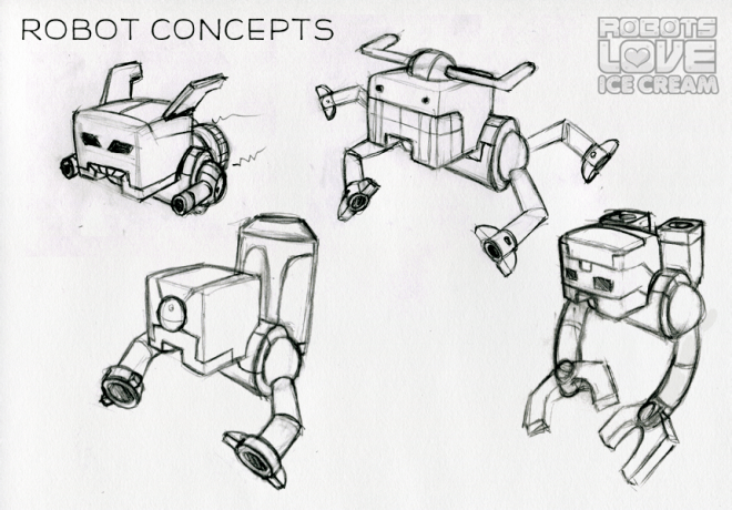 Robots Love Ice Cream: Robot concept art