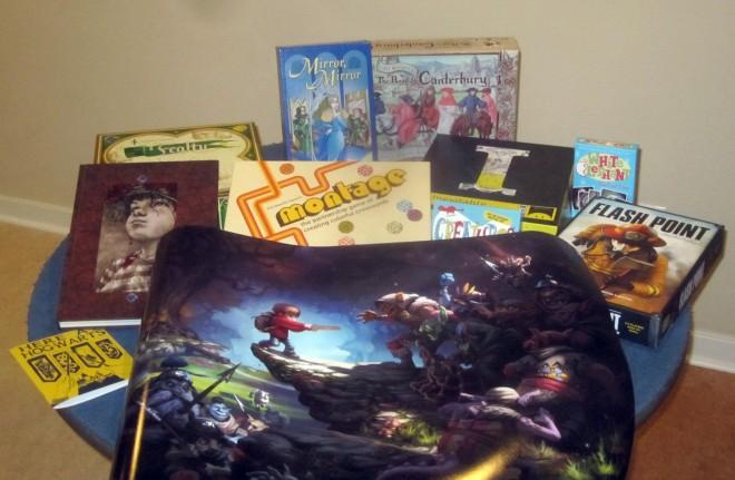 Most of my Kickstarter loot ... so far.